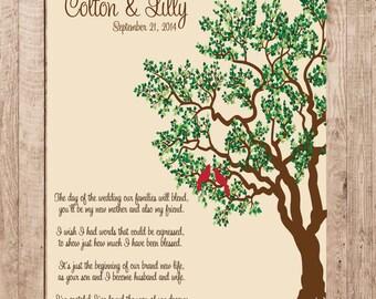 Mother of Groom Wedding Tree Print Birds PERSONALIZED Wedding Gift 113