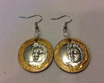 Brazil 1 Real Bi-Metal, Two-Toned Coin Earrings