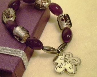 Handmade Bracelet - Plum and Silver with Flower Charm