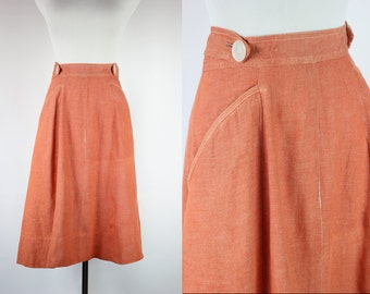 1960s Tangerine Cotton  Swing Wrap Skirt -- Sz Sm