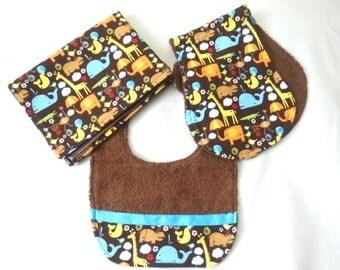 Baby / Bib / Burp Cloth / Changing Pad Set / 'Animal Tricks' / elephants / hippos / giraffes /Gender Neutral