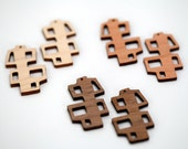 2 Mod Open Square Stack Beads : Cherry, Maple or Walnut