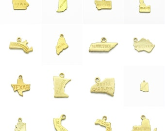 Engraved Brass State Charms Pendants, 50 States