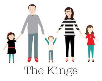 Digital Custom Family Portrait Illustration