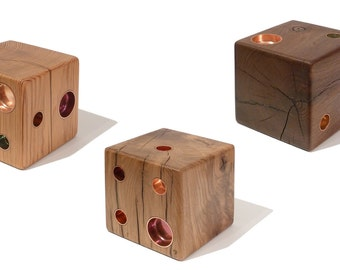 THE DICE: Handcrafted candle holder made from salvaged wood with copper inlays. Each item is a one-of-a-kind object.