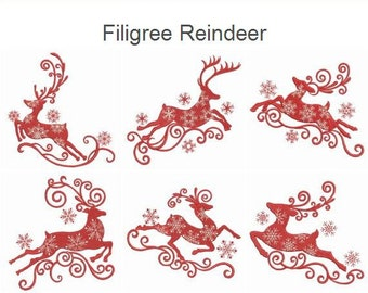 Filigree Reindeer Christmas Holiday Machine Embroidery Designs Pack Instant Download 4x4 5x5 6x6 hoop 10 designs APE1211