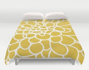 Modern Dahlia Flower Duvet Cover - Mustard Yellow - Queen Size Duvet Cover - King Size Duvet Cover - Minimalist Duvet Cover