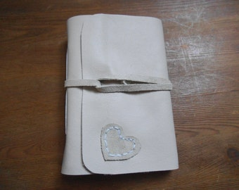 Address Book Heart  Cream Leather A6