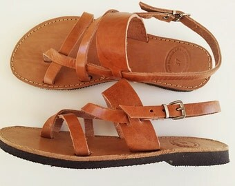 Ancient Greek Sandals In Natural Leather Color - Women Leather Sandals