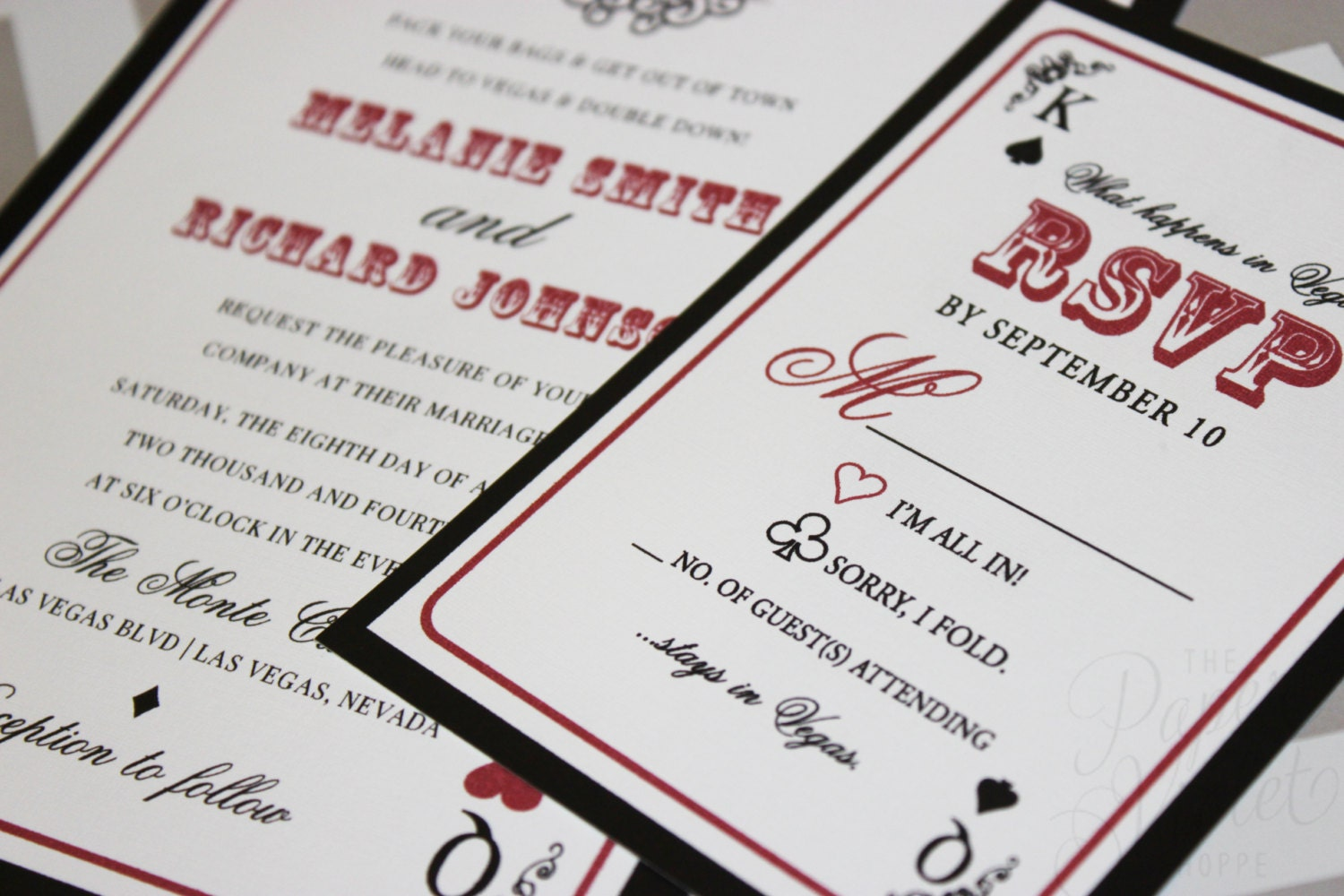 Las Vegas Wedding Invitation With Poker Chip Style Belly Band