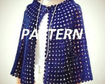 PATTERN crochet necklace scarf  cozy cape shawl summer fall poncho