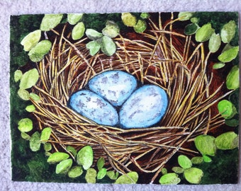 "Three in the Nest- 9""x12"" watercolor on canvas board"