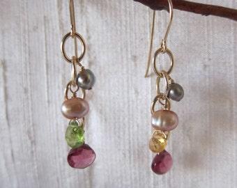 Pink Garnet, Citrine, Peridot 14K Gold Filled Handmade Earrings