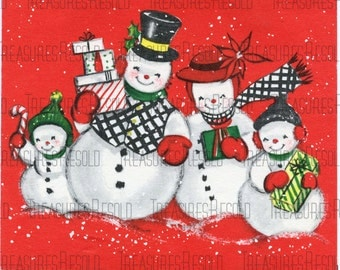 Snowman Family Christmas Card #16 Digital Download