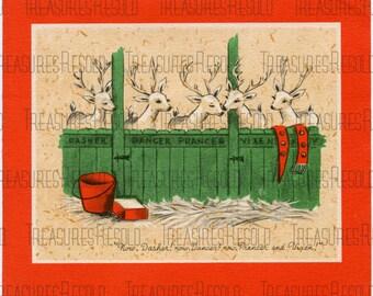Reindeer Waiting For Santa Christmas Card #193 Digital Download