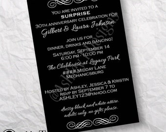 PRINTABLE Black and White Classic Party Invitation