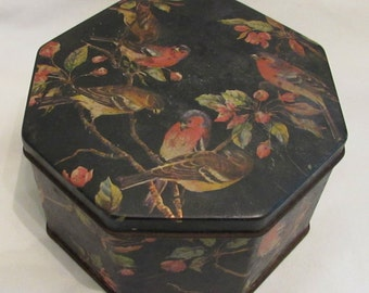 Octagon Shaped Tin - Songbirds and Cherry Blossoms - 1960's