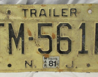 License Plate, Old NJ Yellow, 1980's