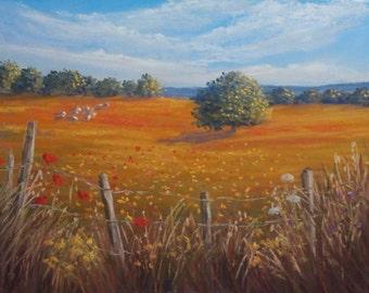 Landscape pastel painting on sanded paper. Impressionist  painting.Landscape painting.Flower painting. Original landscape painting,