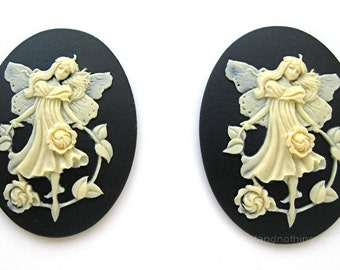 2 BEAUTIFUL FAIRY with Strand of Old English ROSES on Black color Cameos 40mm x 30mm Resin Cameo Lot for Making Costume Jewelry