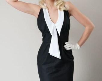 Pin Up Wiggle Dress - Rockabilly Dress - Retro Mini Dress - Nautical Dress - Black Dress - Chelsea Collar - Sailor Dress - Custom Size
