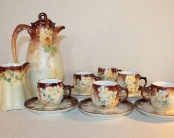 Antique Hot Chocolate Set – Rosenthal, MZ Habsburg, Limoges - 1900 - Fall Theme