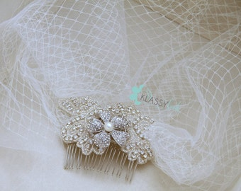 Ivory Crystal Rhinestone Crystal Tulle Flower Double Layered Birdcage Veil