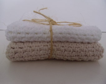 11 inch square 100% cotton crocheted wash cloths set of 2