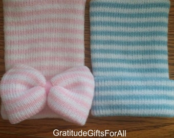 Our Popular NEWBORN Hospital Hat Set Now Available in Thicker Knit Hats! Babies 1st Keepsakes!