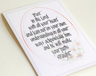 Calligraphy Christian Greeting Card with Scripture. Beautiful Hand Drawn Art: 'Trust'