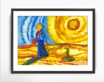 The Little Prince - The snake / Le petit prince print, Saint-Exupéry, classic book, poster, prince desert, motivational story, exupery
