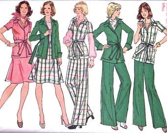 Misses Front Wrap Jacket, Skirt and Pants - Vintage Sewing Pattern UK - Vintage Supply - Simplicity 6857