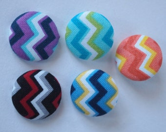 Chevron  fabric covered buttons (size 60, 40, 32, 20, or 18)