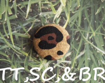 Large leopard print  fabric covered buttons  (Tie Tacks, Shoe Clips, Brooch)