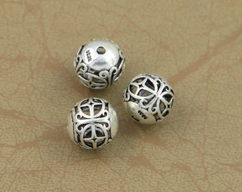 Round 925 Sterling Silver Bead Thai Silver Spacer Ball Beads 10mm Bead Supply High Quality Y250