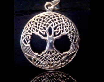 Tree of Life Necklace: Sterling Silver Tree of Life Necklace with Celtic Design Influence in the Convex Shape Tree of Life Pendant TOLP007
