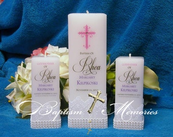 Baptism Christening Candle with God Parent Candles Square Personalized