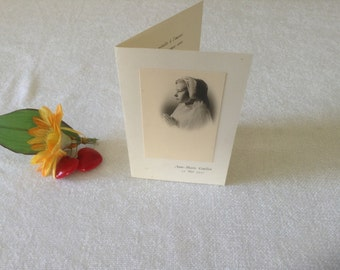 1957, Antique Vintage French Menu, 25 Mai 1957, Baptism Menu for Anne-Marie Guillon, beautiful photo to front cover.