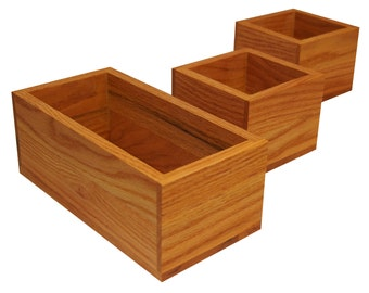 Small Wooden Keepsake/Memory Storage Boxes/Cups, Small Wooden Boxes, Wooden Dividers, Rabbet Joinery, Solid Oak, 100% Made in the USA