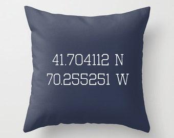 Personalized Pillow Cover, Latitude Longitude Coordinates Custom Pillow, Nautical Navy Blue Pillow, c pillow,  pillow