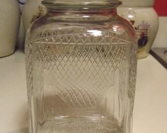 Antique Hoosier Jar Embossed Diamond Pattern Cathedral Corners 1940s 1950s Canning Canister Dry Storage Jar Free Zinc Cap Vintage Sugar Tea