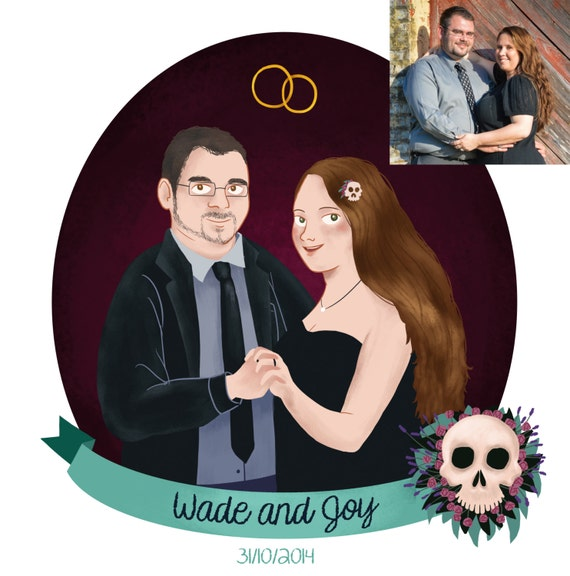 Wedding Illustration / Custom Couple Portrait / Custom Digital Portrait / Wedding Custom Portraits / custom wedding illustration print