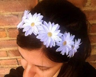 Classic White Daisy Flower Headband, Flower Halo, Flower Crown