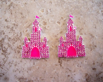 2 pieces:  Pink and Hot Pink Rhinestone Princess Castle Flatback - Cabochon
