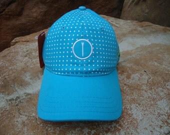 Women's Golf Hat Aqua Blue with Woven Label Tee Design | Great Golf Gift Idea!