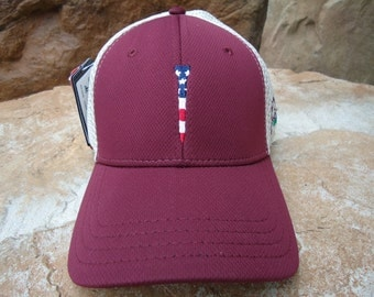 Men's Trucker Golf Hat Maroon Red with Embroidered USA Flag Tee Design | Great Golf Gift Item
