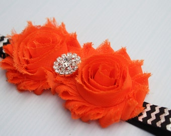 Orange headband baby halloween headband toddler headband shabby chic headband newborn Infant headband flower girl headband orange and ivory