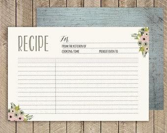 Rustic Bridal shower recipe cards, Printable recipe Card 4x6, instant download recipe Card. Kitchen Shower Recipe Card