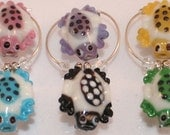 Turtle Wine Charms, House Warming Gifts, Glass Art Beads Set of 6