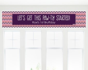 Chevron Girl Bruffday Banner - Custom Dog Party Decorations